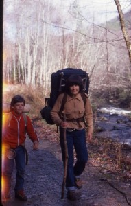 A young Traveling Ted with hiking mom