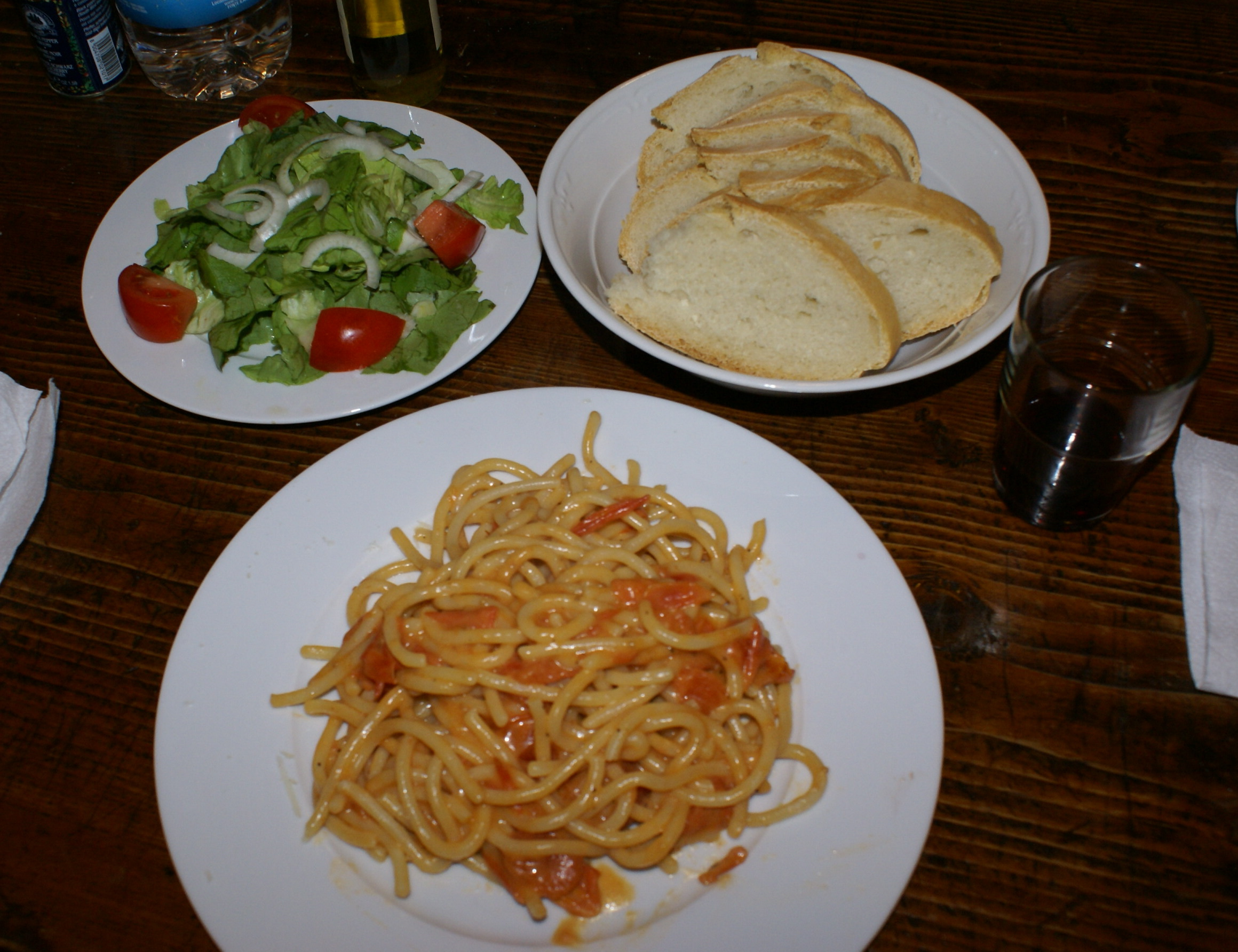 Homemade meal of local products at rented villa in Tuscany