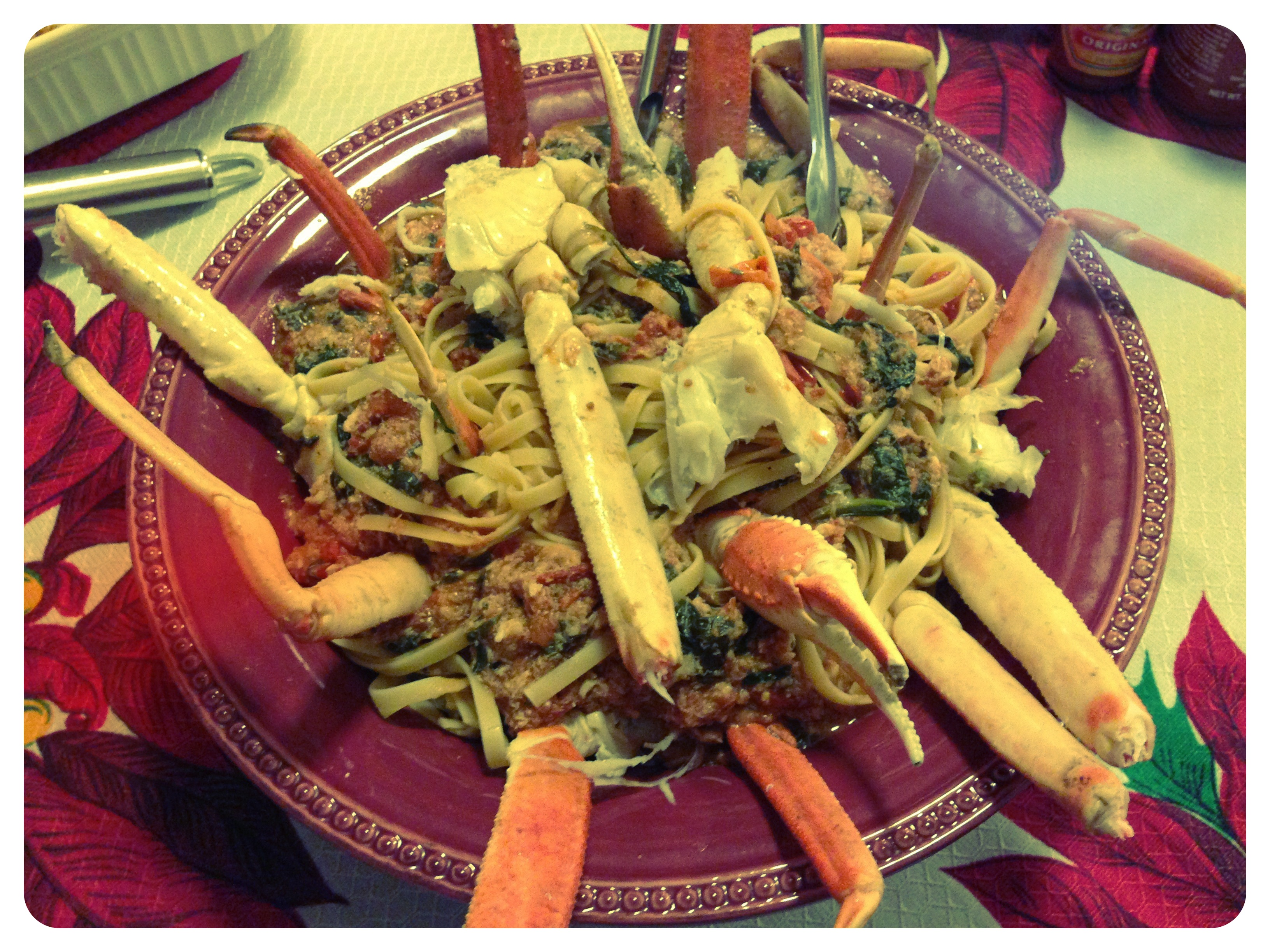 Christmas Eve 2012: Linguine with tomatoes, spinach, & crab
