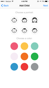 Add child screen | Little Peanut on the Go