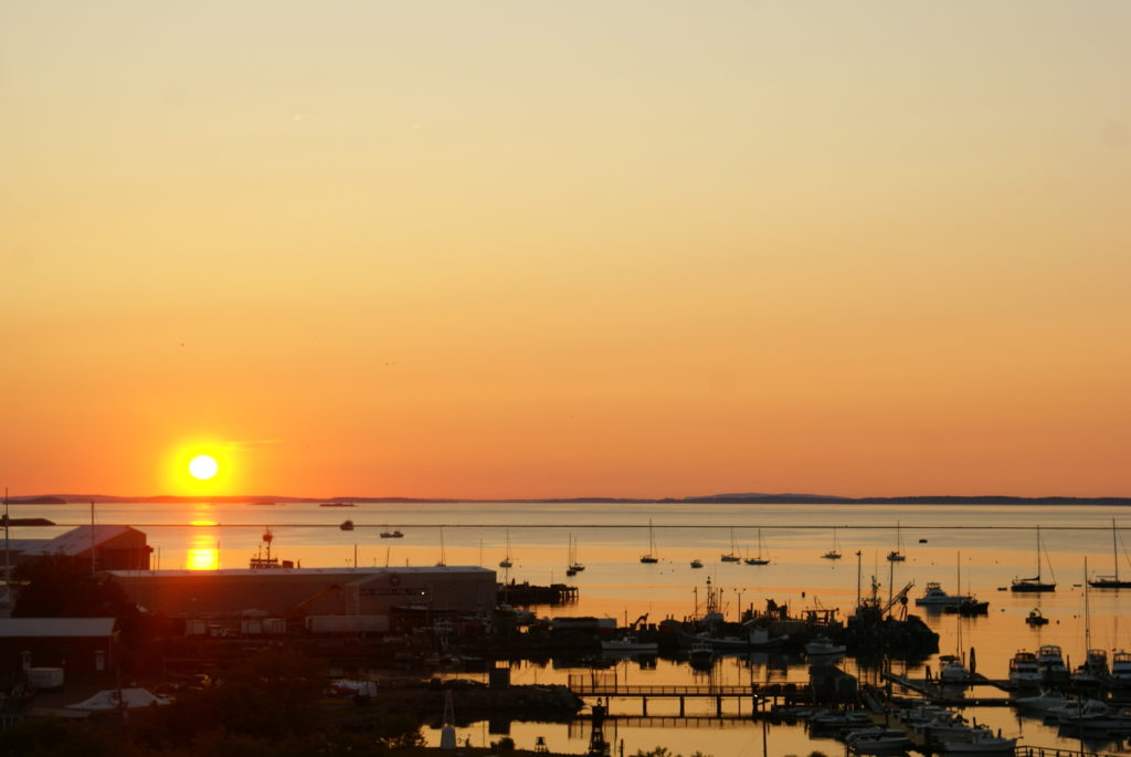 Sunrise from rooftop deck at 250 Main Hotel | Rockland, Maine