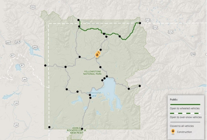 Roads in Yellowstone National Park