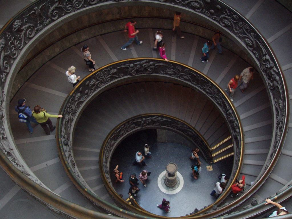 Stairs leading to exit of Vatican Museums